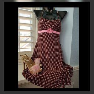 Pink Brown Polka Dot Midi Swing Summer Dress